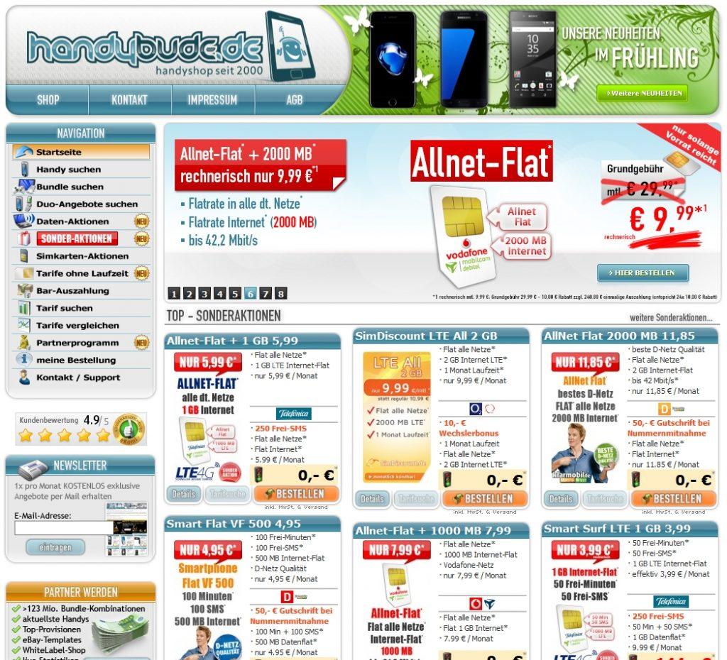 Handy mit Vertrag oder Allnet-Flatrate günstig bei Handybude.de